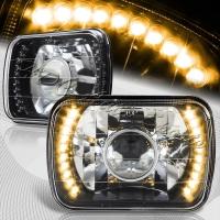 Фары линзованные черные с LED указателем поворота для Toyota Celica T18# 89-93, MR2 86-95