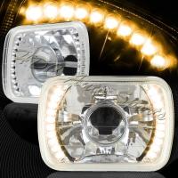 Фары линзованные хром с LED указателем поворота для Toyota Celica T18# 89-93, MR2 86-95